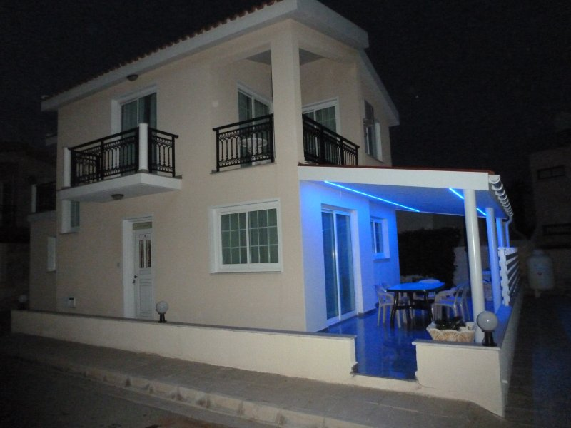 Front of the villa by night