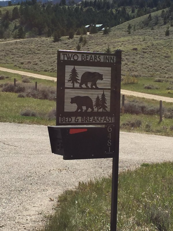 Two Bears Inn B & B a 1/2 mile off the Beartooth Hwy. Nestled in the pines of Haywood Gulch.