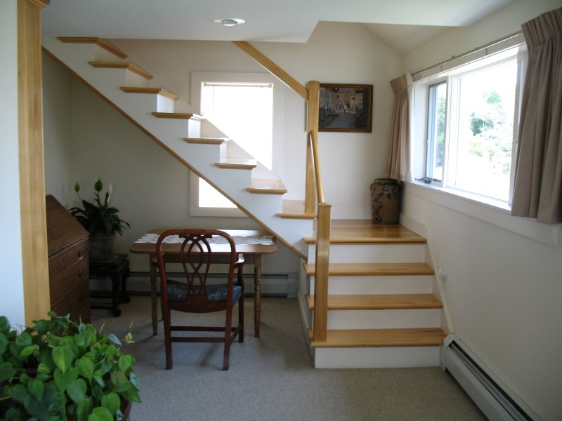 Entering Upstairs, to right is study area and stairs to third floor bedrooom.