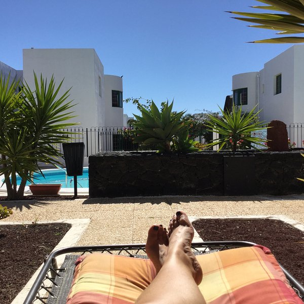 Relaxed view from the patio beside the pool!