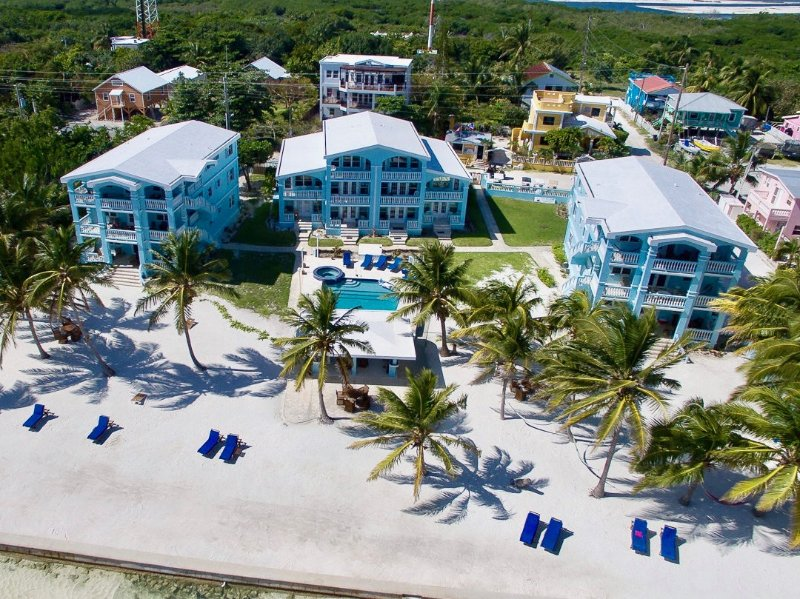 Aerial view of the blue buildings of Sunset Beach Resort!