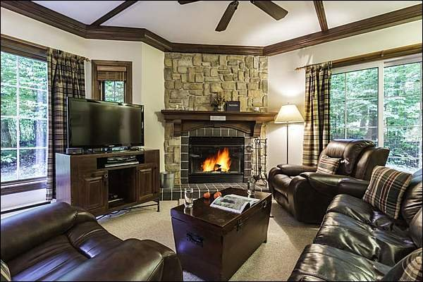 Stunning Living Room with Wood Burning Fireplace