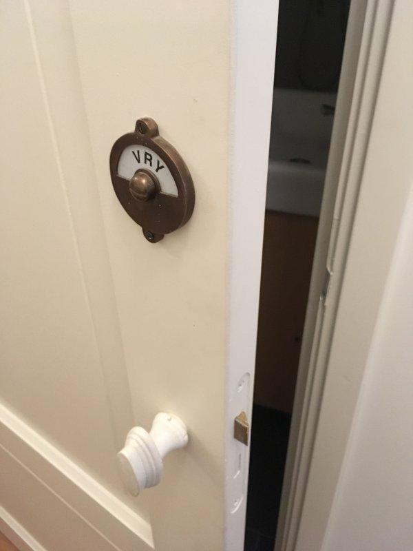 manual locks on bathroom and toilet