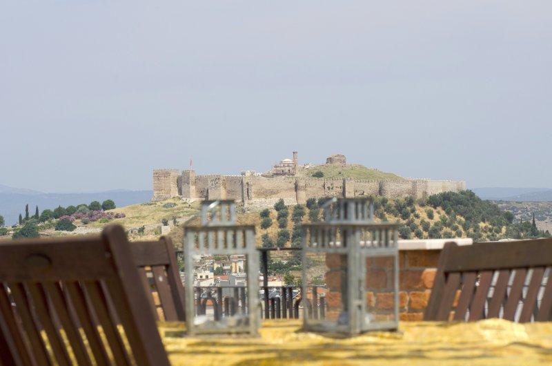 Top terras uitzicht op het Byzantijnse kasteel