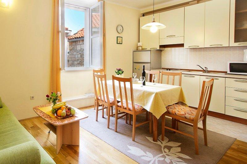 Vista della cucina, soggiorno e zona pranzo