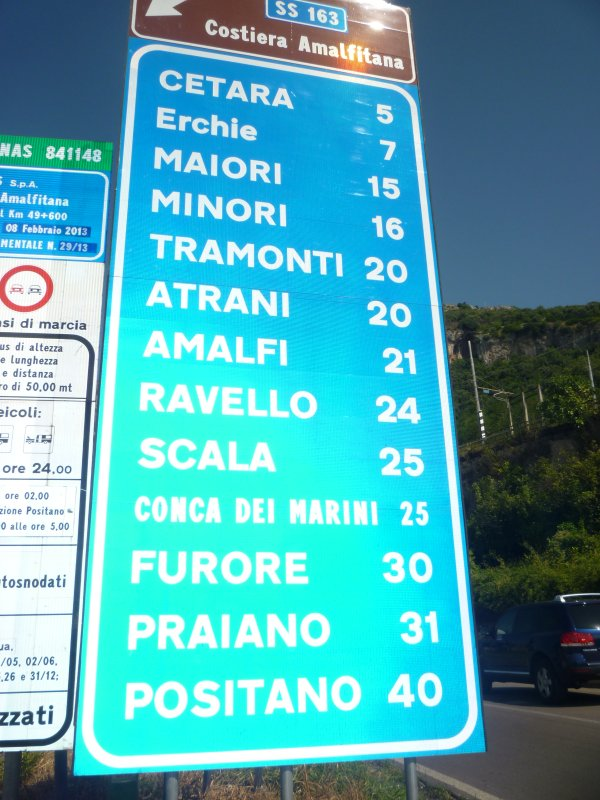 Distance from Vietri to the other villages on the coast