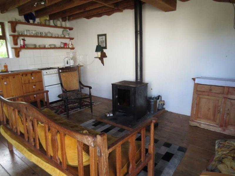 Acogedora sala de estar, cocina y comedor. Estufa de leña.