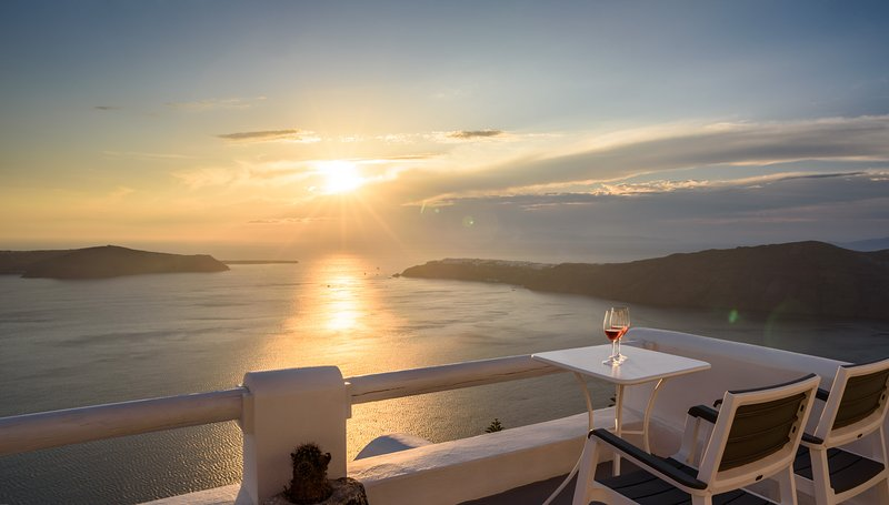 Magic view to the sea, sunset, caldera, Oia from superior apartment balcony