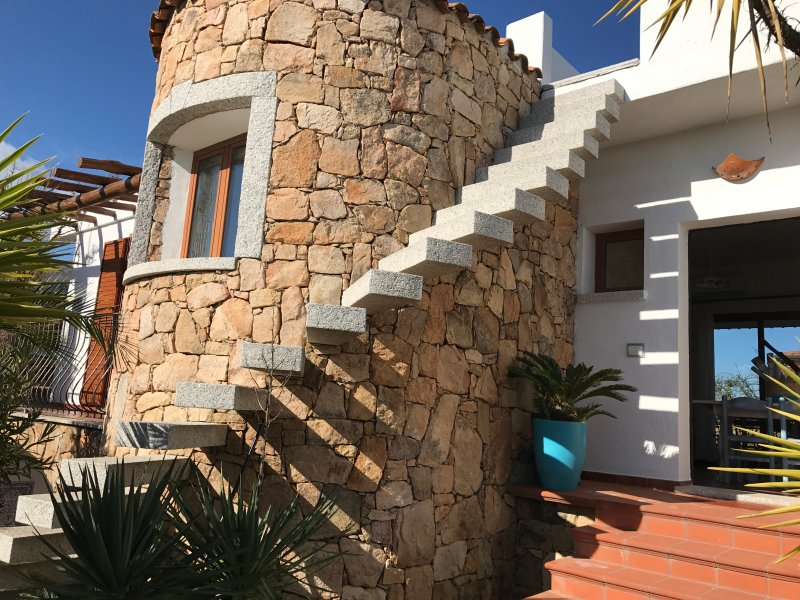 Beautiful stone tower and granite for access to the rooftop solarium