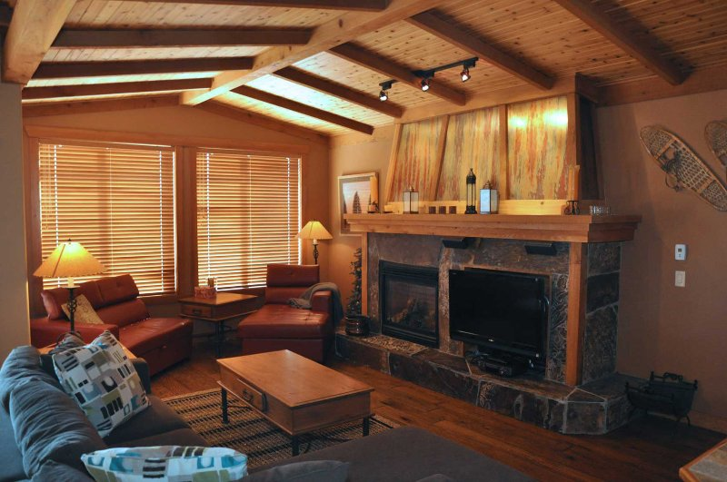 Luxury finishings throughout. Cozy fireplace, cabin feel.