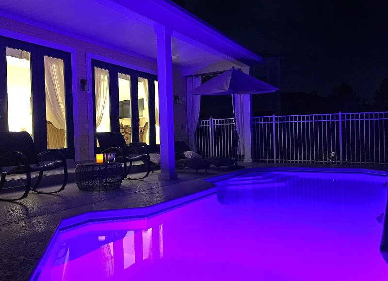 5 Star Orlando's heated and illuminated pool. By day we're in full sun…
