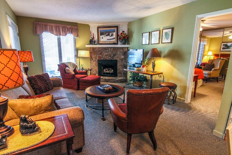 Living room with TV, gas log fireplace and plenty of seating