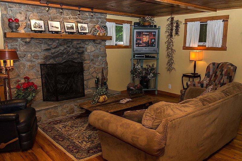 Salón chimenea de gas de registro, TV y muebles acogedores.