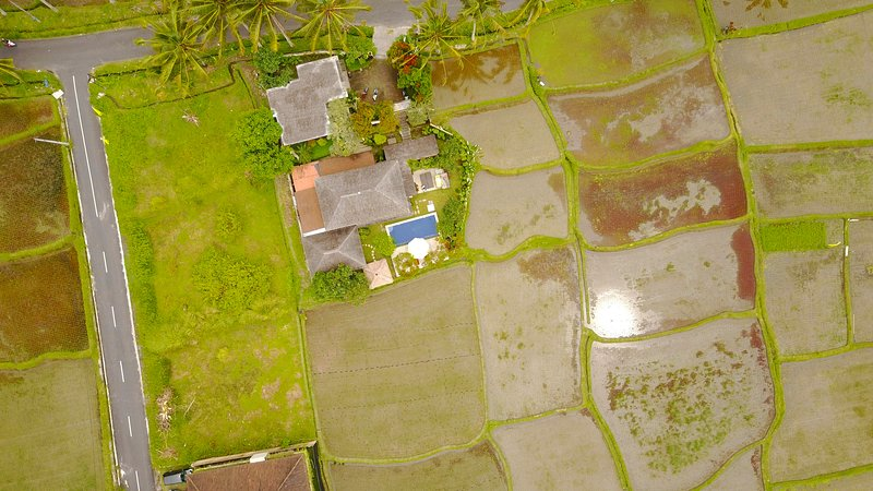 Bird's eye view of Villa Padi Menari and its surroundings
