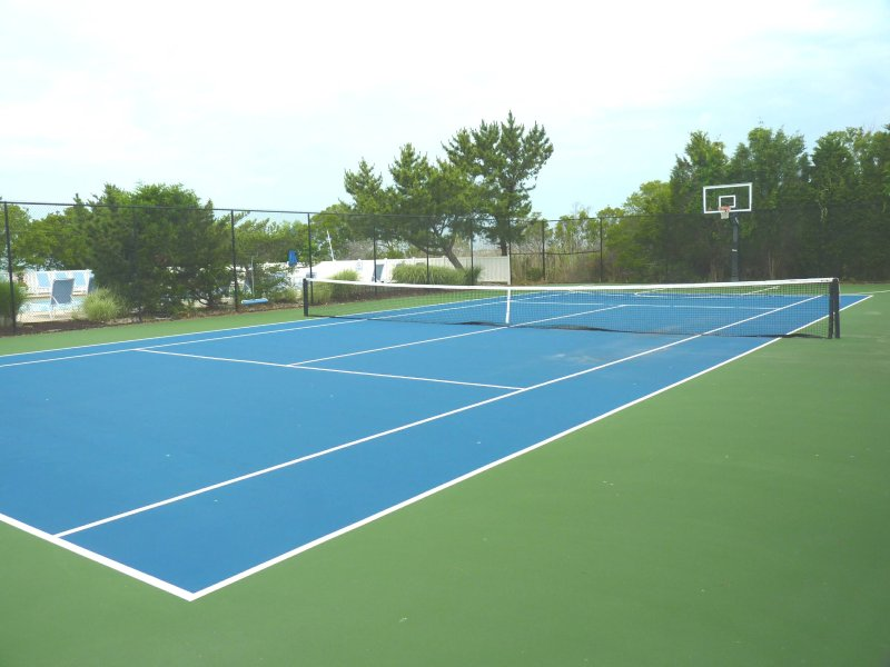 Community tennis court and basketball court