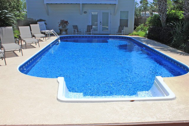 large private pool and deck
