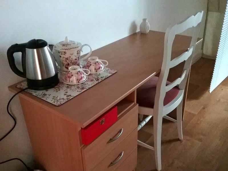 Bedroom1, Computer Desk and herbal Tea Platter