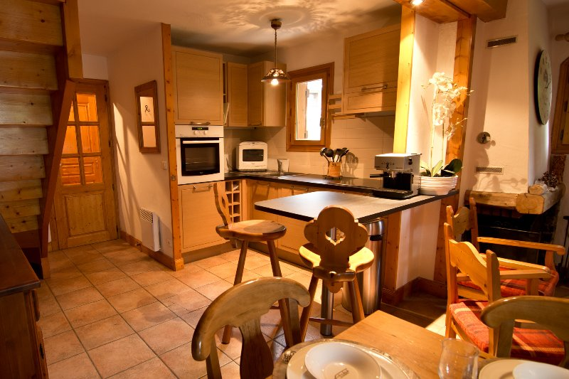 The kitchen is spacious and well equipped in Chalet Bernardie.