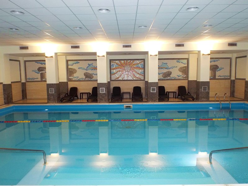 Enjoy a dip in the indoor shared, swimming pool