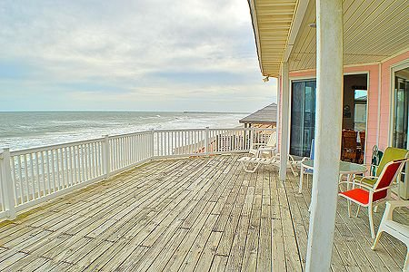 Large ocean side lower deck outside living areas
