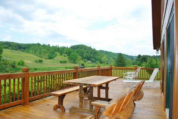 Spacious deck overlooking the river