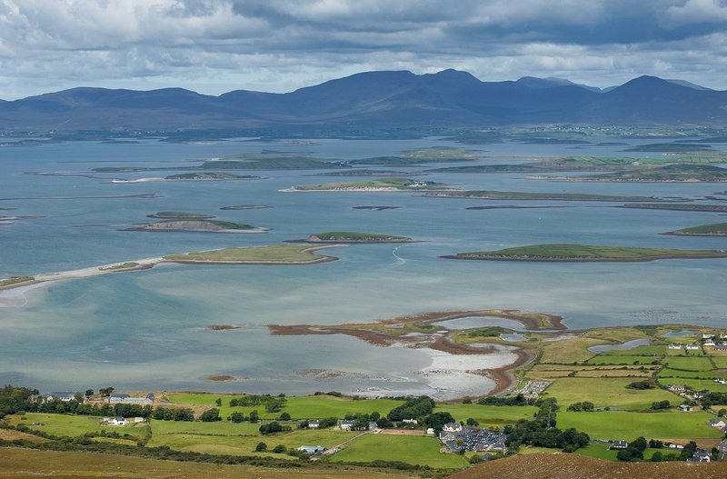 View from half way up Croagh Patrick.  The base of the mountain is just 2k from our house