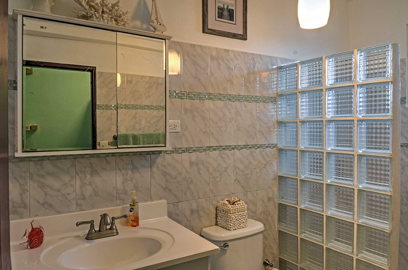 Rinse off the saltwater in the first full bathroom.