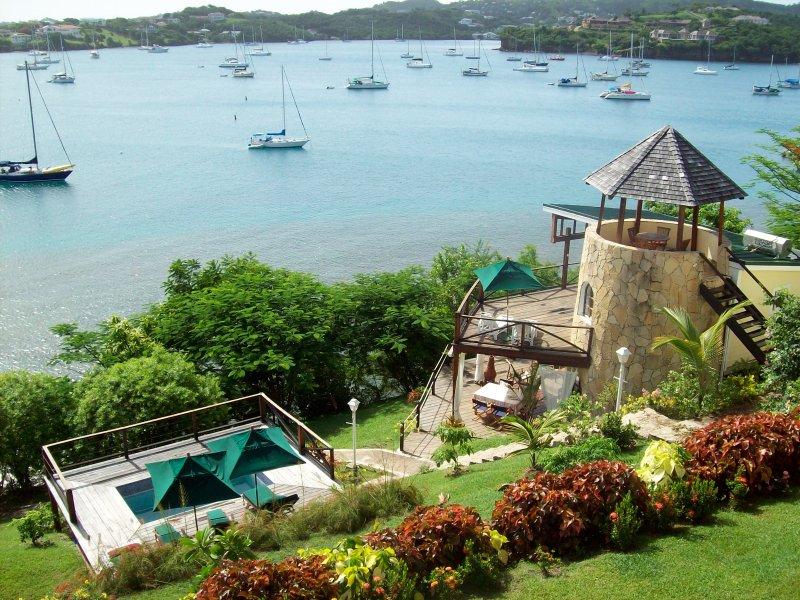The Sugar Mill Tower, overlooking Prickly Bay, is locate in Grenada's premier neighborhood.