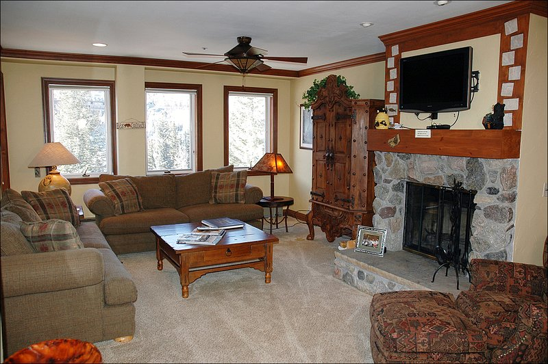 Living Room Features a Wood Burning Fireplace and Flat Screen TV