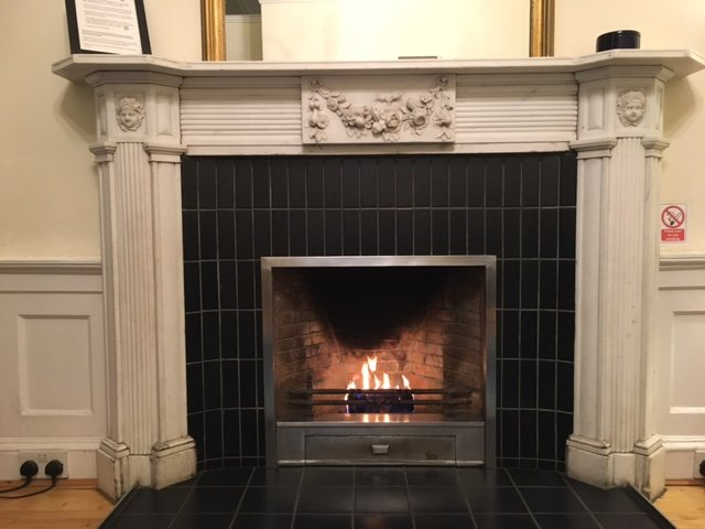 feature fireplace with smokeless fire log