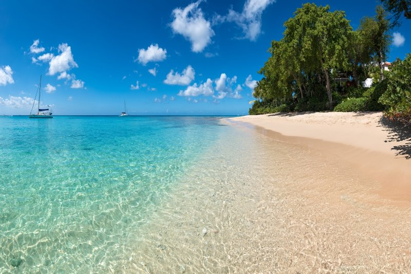 Blue skies and crystal clear water