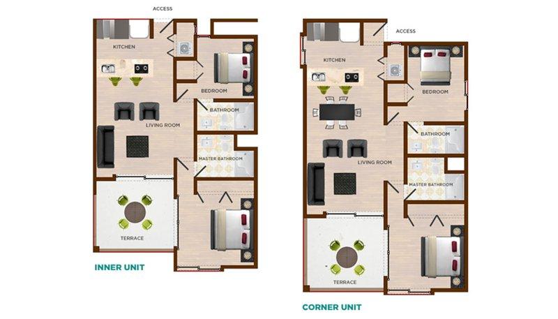 Unité Plan d'étage d'angle