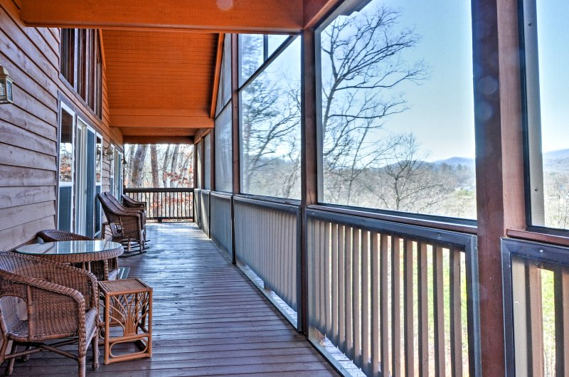 Marvel at the ridge line from the screened-in porch.