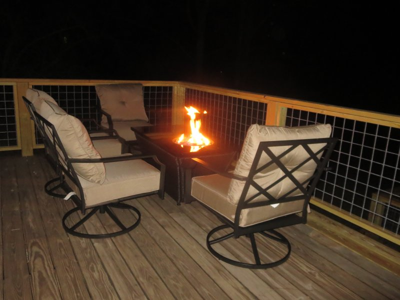 The fire table makes chilly nights a little warmer.