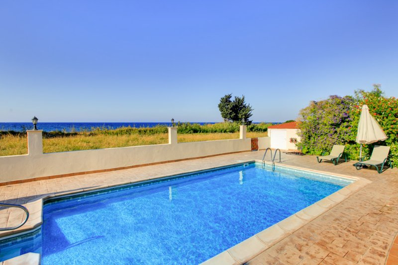 Private pool with sea views and terrace area