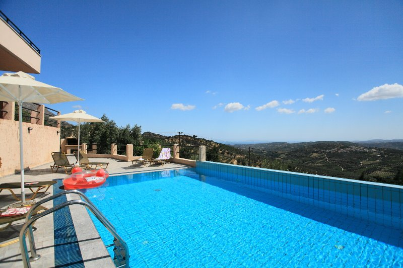 Private pool with terrace area and panoramic views