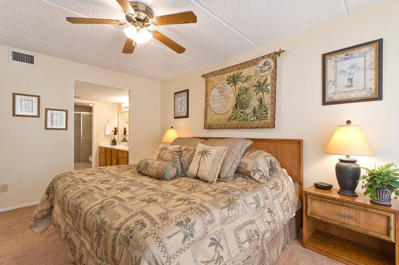 La chambre principale avec un lit king