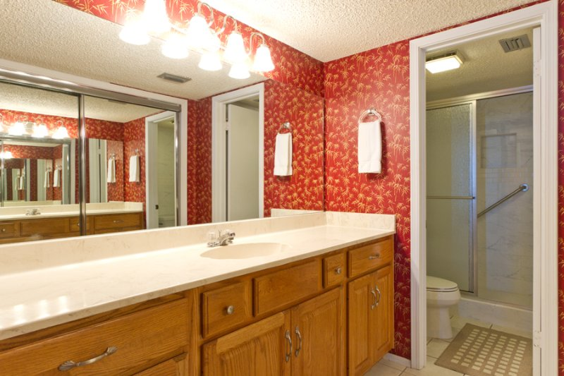 Master bathroom with a newly remodeled walk in shower