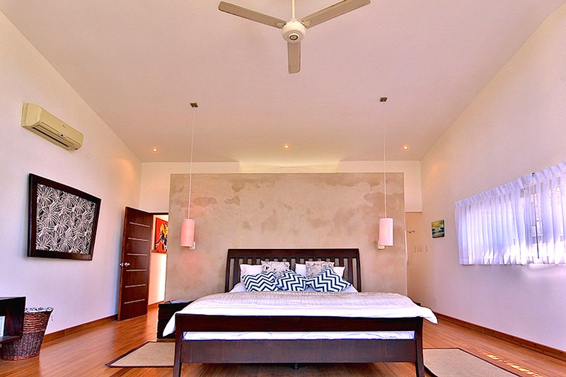 Master Bedroom with Vaulted Ceiling AC, TV and Walkout