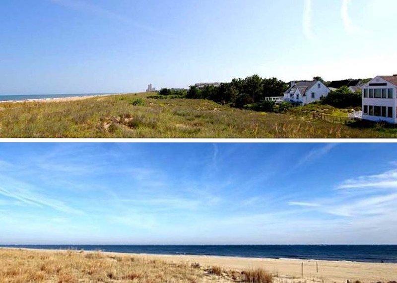 Top: Atlantic Ocean on Left, Beach House on Right. Bottom: Ocean view from 6910