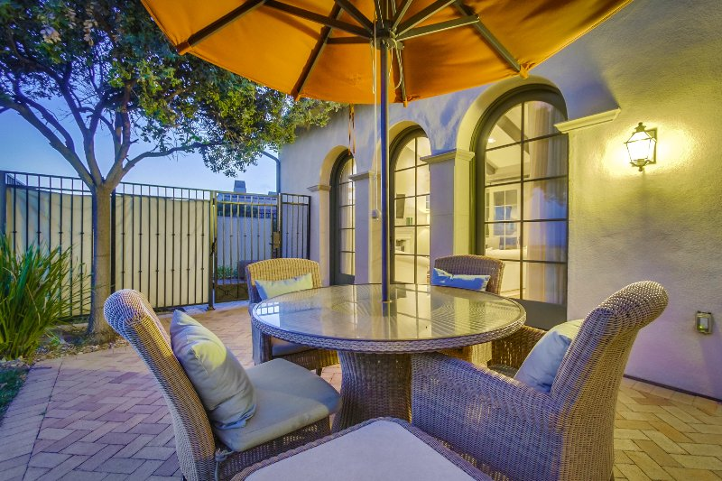 Relax with family and friends on the patio at sunset.