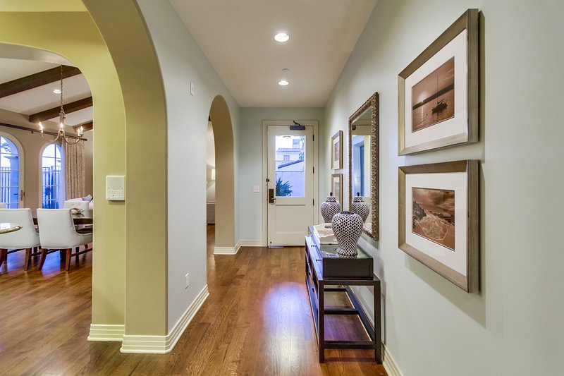 The entry way into the living room and kitchen.