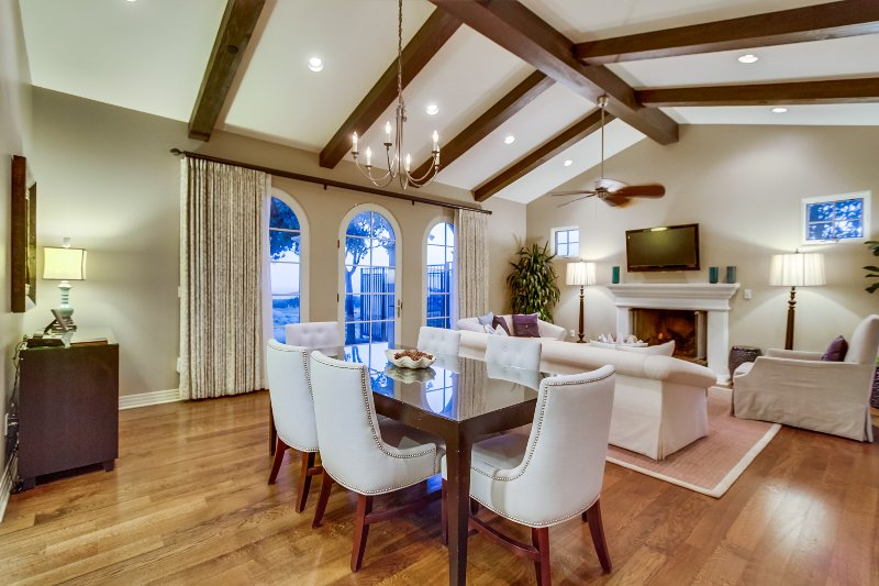 A spacious great room includes the living room and dining room.