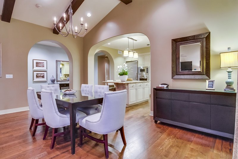The dining room opens up to a large kitchen.