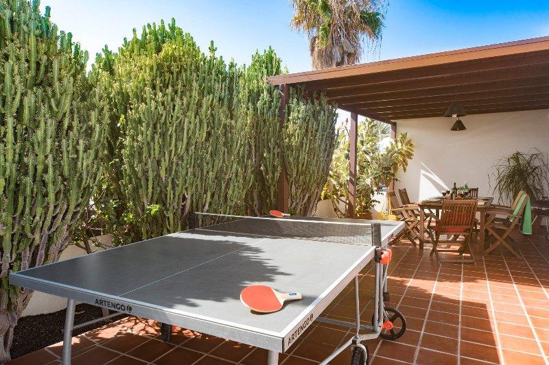 piscina privada com terraço e mesa de pingue-ing