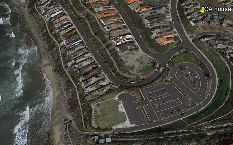 Google Earth image of property at upper right. 800 feet from the ocean. Five-minute walk.
