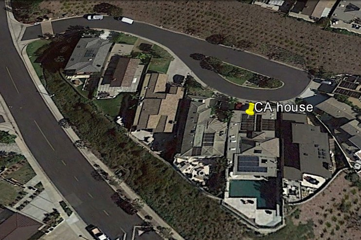 Google Earth image of quiet cul-de-sac. Pool in rear of house has great oceanview.