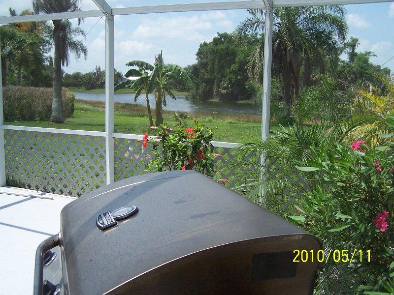 Cocinar algunos de barbacoa, mientras que mirando el hermoso paisaje