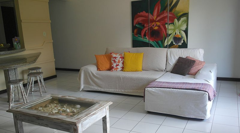 Large living room with comfortable sofa and well decorated