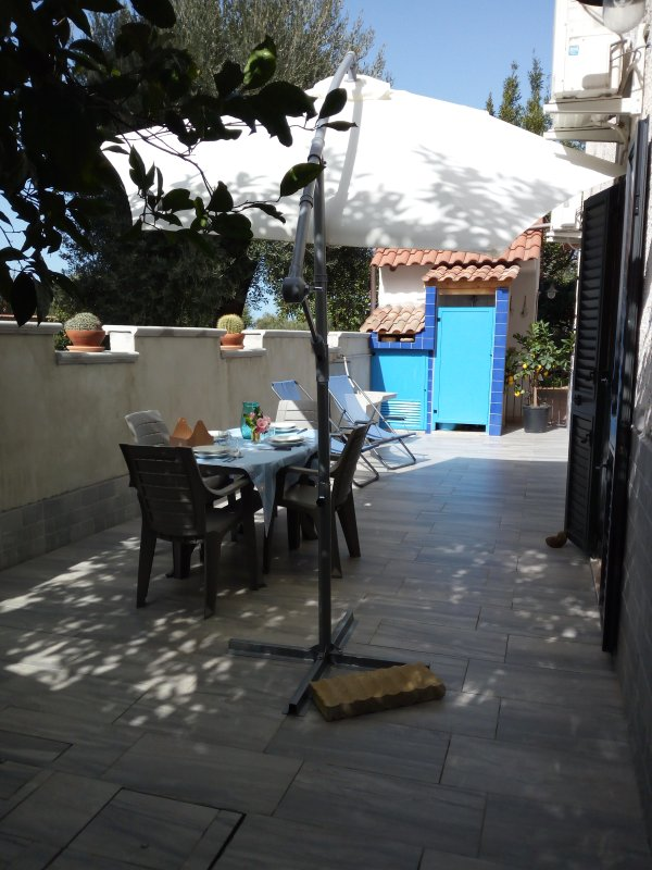 Equipped outdoor area, with shower